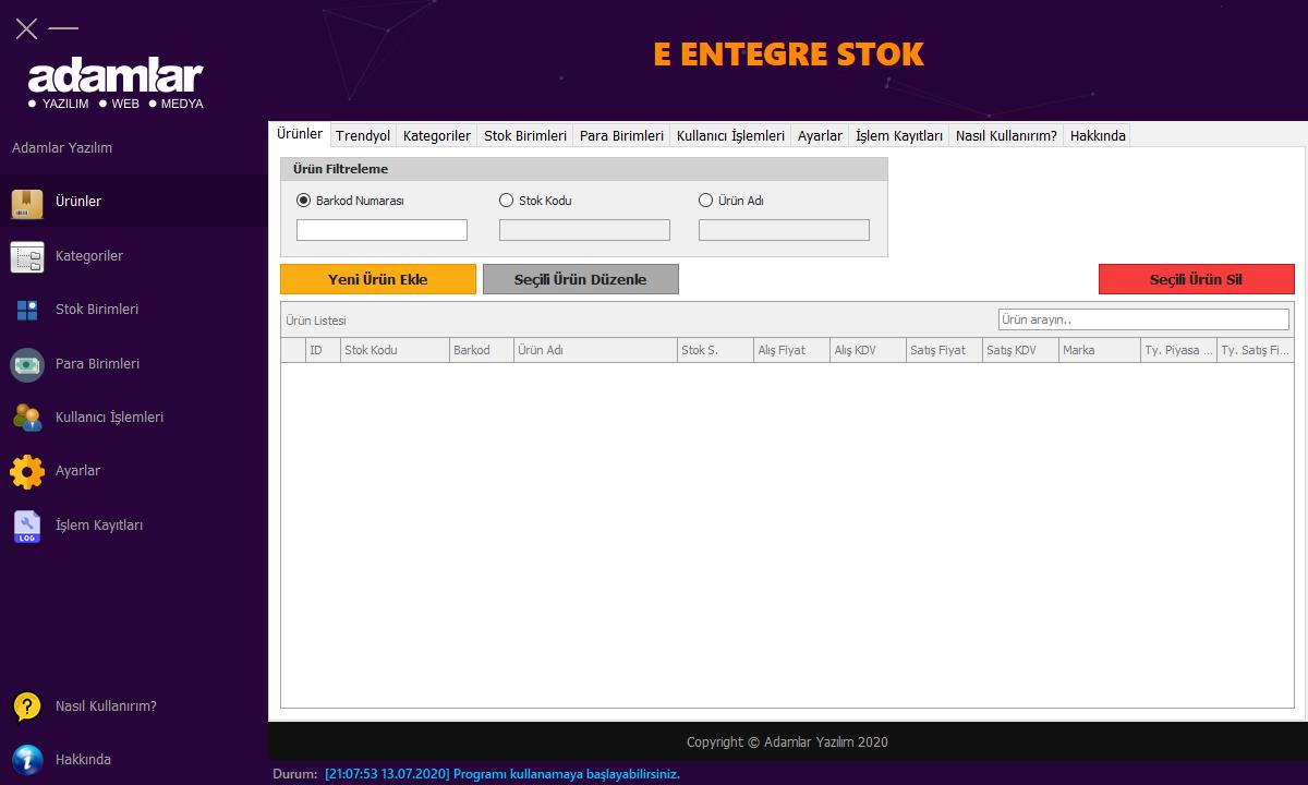 E-Entegre Stok